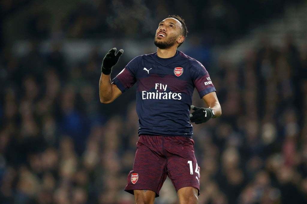 Aubameyang was on the scoresheet again during Arsenal's draw with Brighton.(Photo by Steve Bardens/Getty Images)