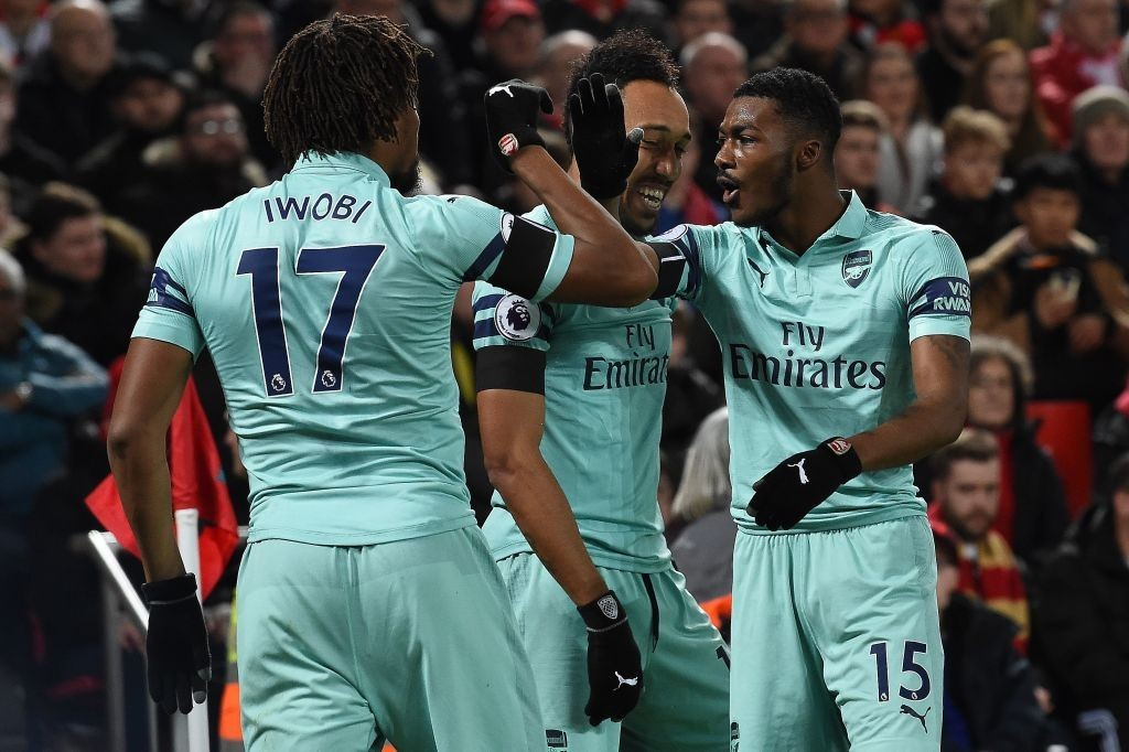 Iwobi and Maitland-Niles were Arsenal's brightest performers on the evening. (Photo by Paul Ellis/AFP/Getty Images)