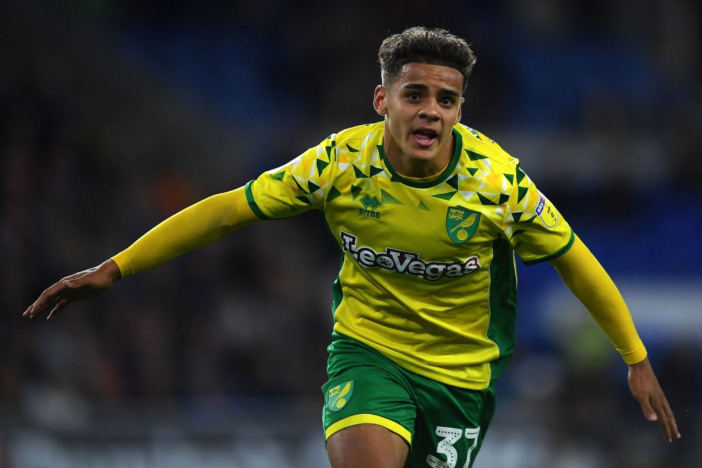 CARDIFF, WALES - AUGUST 28: Max Aarons of Norwich City celebrates after scoring his sides third goal during the Carabao Cup Second Round match between Cardiff City and Norwich City at the Cardiff City Stadium on August 28, 2018 in Cardiff, Wales. (Photo by Harry Trump/Getty Images)