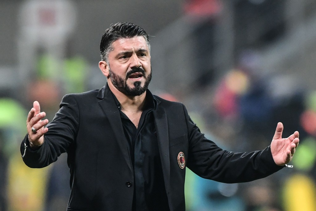 AC Milan's Italian coach Gennaro Gattuso reacts during the Italian Serie A football match AC Milan vs Juventus on November 11, 2018 at the San Siro stadium in Milan. (Photo by Miguel MEDINA / AFP) (Photo credit should read MIGUEL MEDINA/AFP/Getty Images)