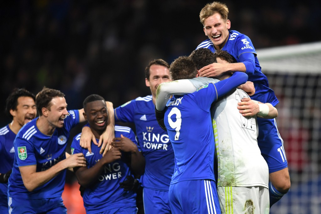 Leicester City progressed to the Carabao Cup quarter-finals with a win over Southampton in the penalty shootouts. (Photo by Michael Regan/Getty Images)