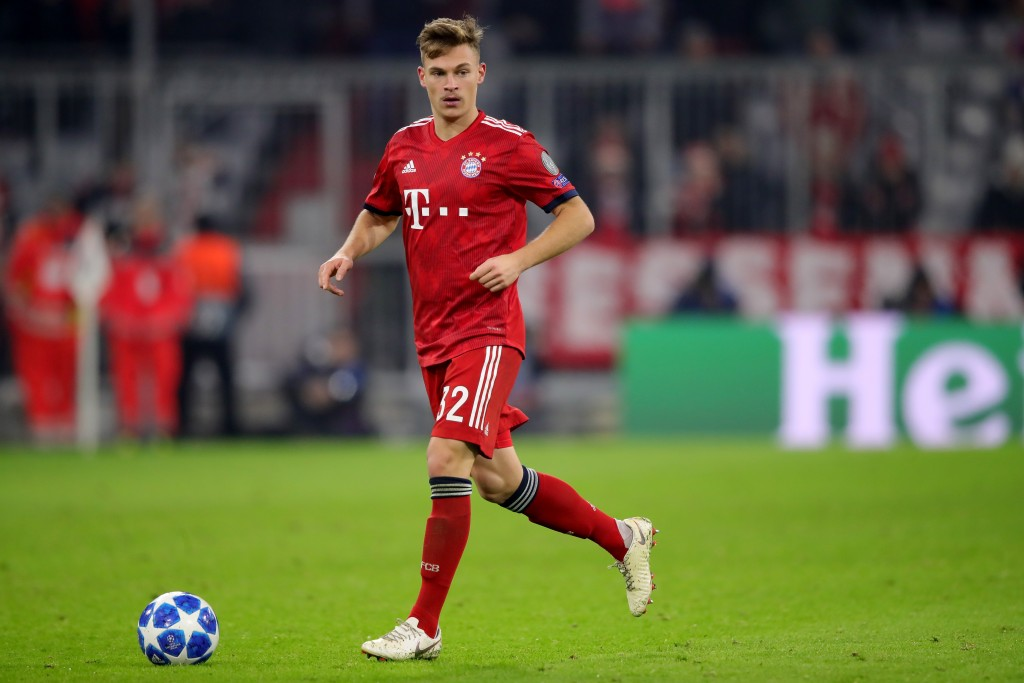 MUNICH, GERMANY - NOVEMBER 27: Joshua Kimmich of FC Bayern Muenchen runs with the ball during the Group E match of the UEFA Champions League between FC Bayern Muenchen and SL Benfica at Allianz Arena on November 27, 2018 in Munich, Germany. (Photo by Alexander Hassenstein/Bongarts/Getty Images)