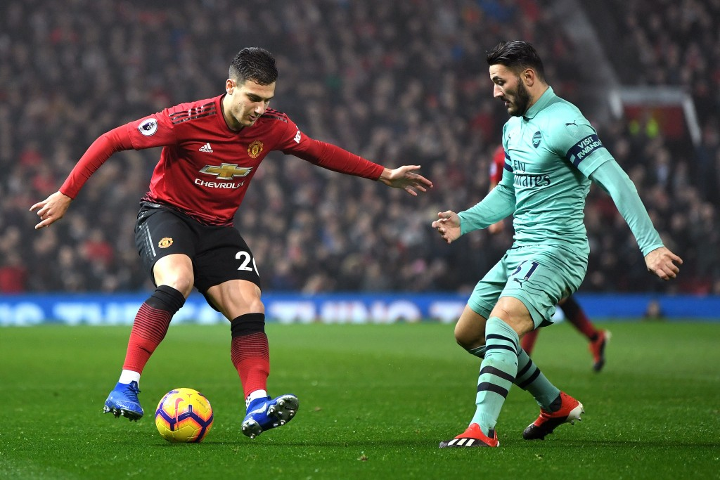Kolasinac's duel with Diogo Dalot was captivating. (Photo by Michael Regan/Getty Images)