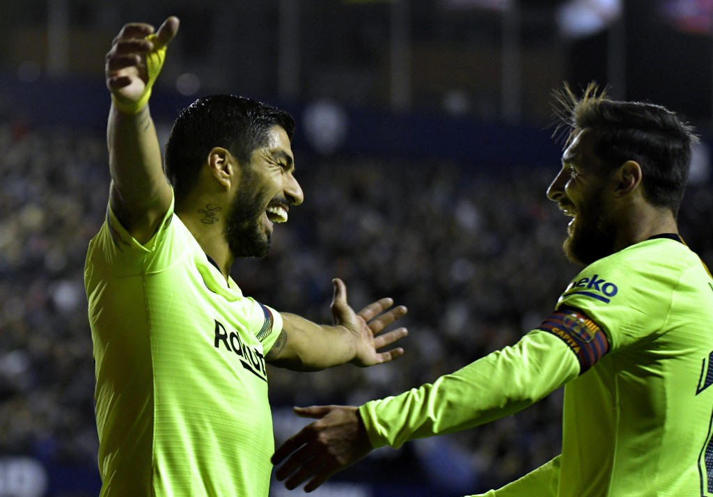 Luis Suarez and Lionel Messi are in fine form for Barca. (Photo by Jose Jordan/AFP/Getty Images)
