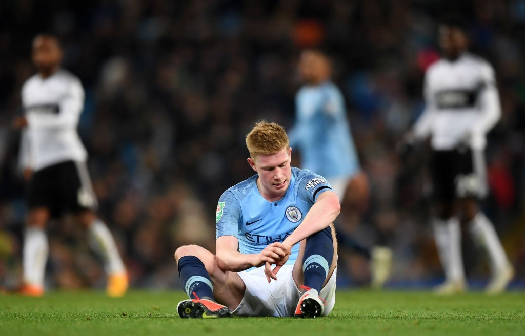 Kevin De Bruyne is yet to be full fit to play for Manchester City and will remain absent for the Bournemouth clash. (Photo by Michael Regan/Getty Images)