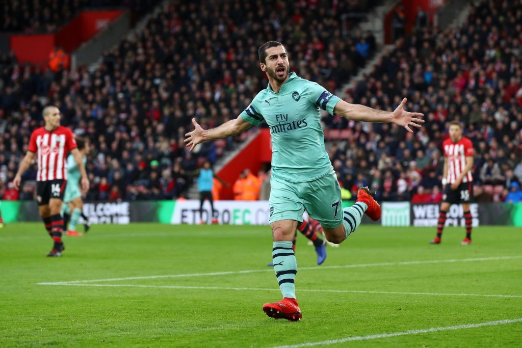 Mkhitaryan was on fire, scoring both goals that Arsenal scored against Southampton. (Photo by Clive Rose/Getty Images)