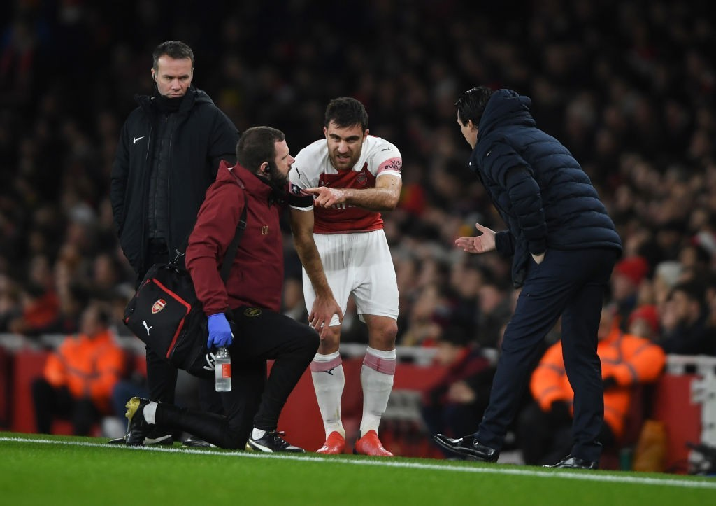 Sokratis is ruled out for a month with an ankle injury. (Photo by Mike Hewitt/Getty Images)