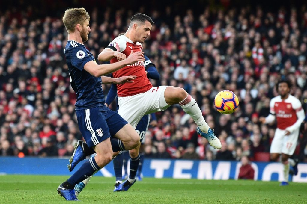 Xhaka's goal was the first time he scored inside the box in a league match for Arsenal. (Photo courtesy: AFP/Getty)