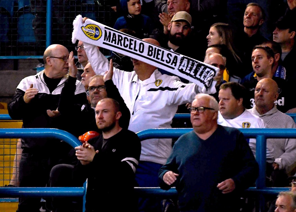 Spygate or not, Bielsa is a fan favourite at Elland Road. (Photo by George Wood/Getty Images)