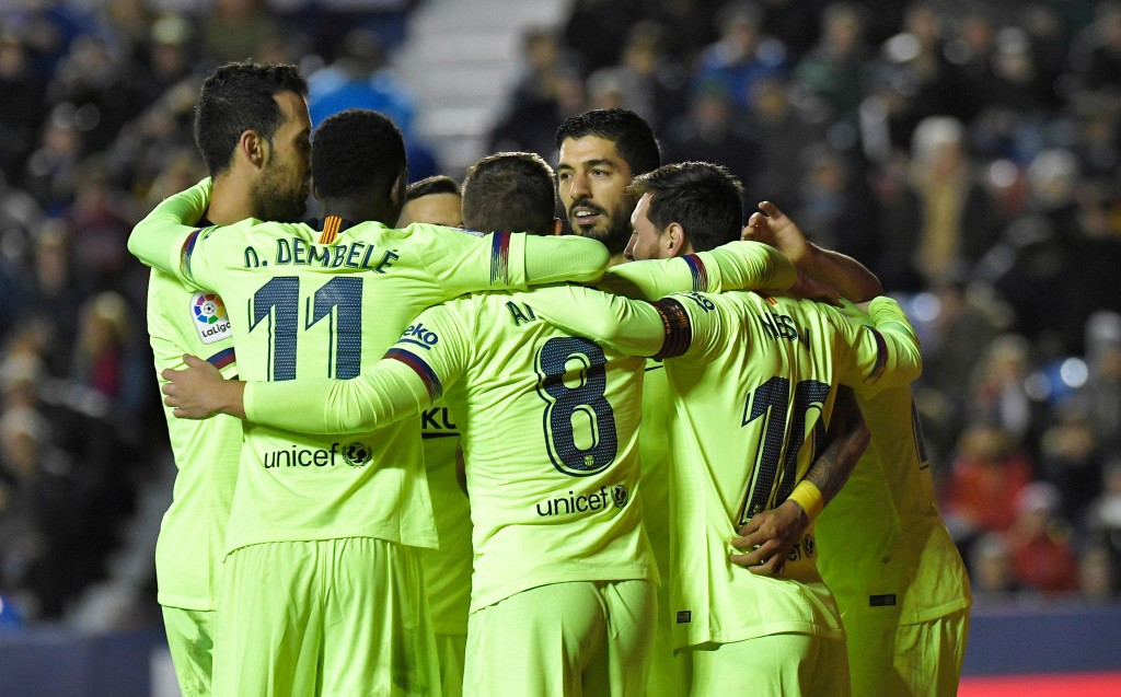 Barcelona handed a 5-0 thrashing to Levante last month. (Photo by Jose Jordan/AFP/Getty Images)