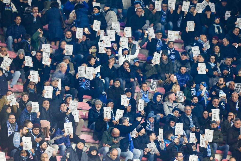 Napoli fans have expressed their support for Koulibaly following the recent racism storm. (Photo by Carlo Hermann/AFP/Getty Images)