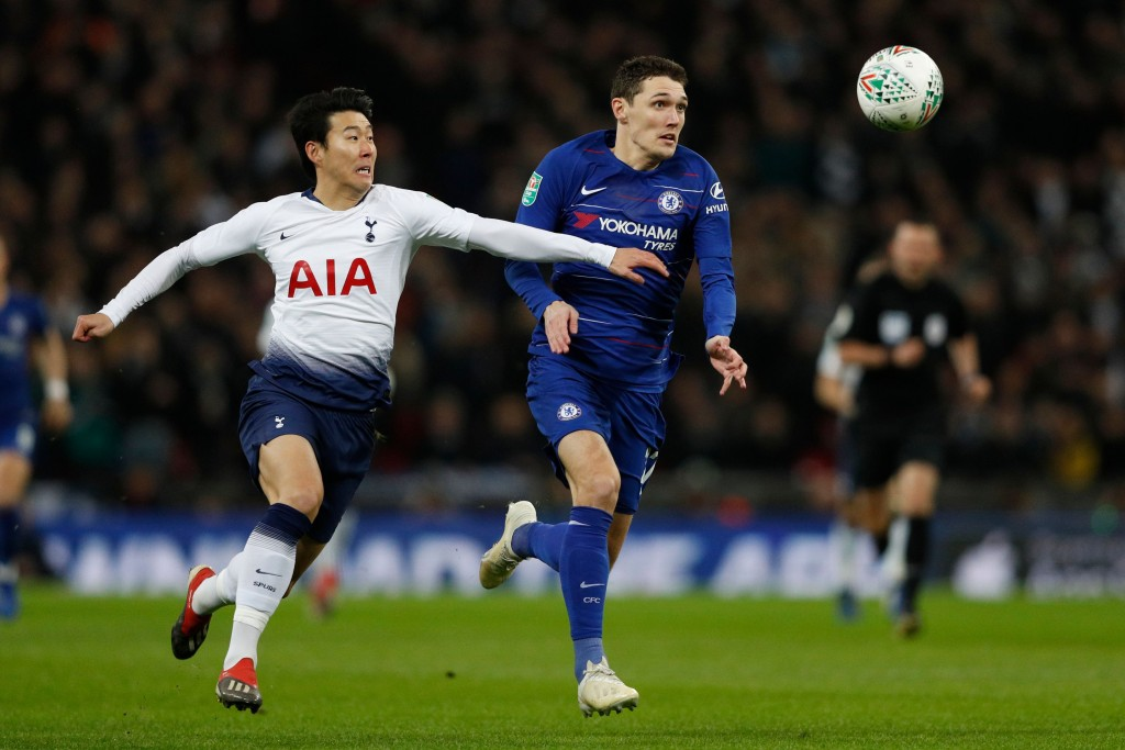 Christensen struggled against the Tottenham attack. (Photo by Adrian Dennis/AFP/Getty Images)