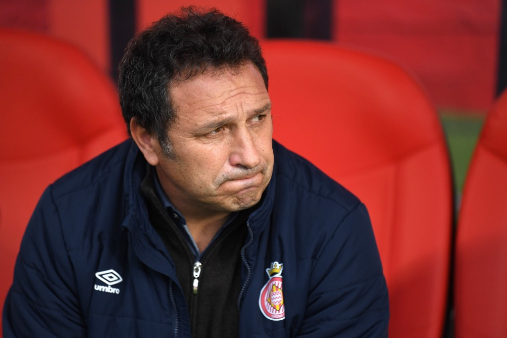 The look of concern has become a staple at Girona lately. (Photo by David Ramos/Getty Images)
