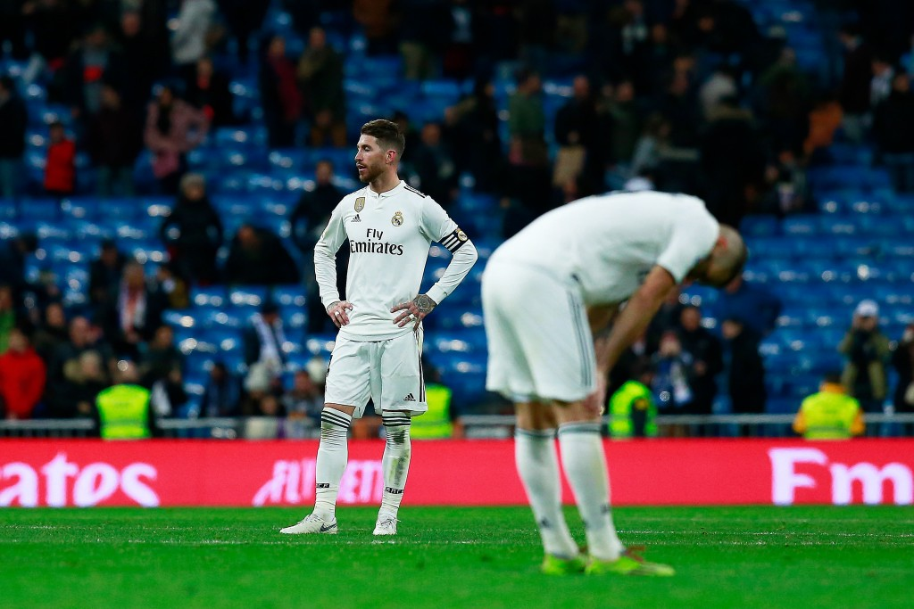 A forgettable day in the office for the Madrid defence (Photo by Gonzalo Arroyo Moreno/Getty Images)