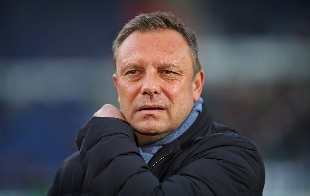HANOVER, GERMANY - JANUARY 19: Andre Breitenreiter, head coach of Hannover 96 looks on during an interview prior to the Bundesliga match between Hannover 96 and SV Werder Bremen at HDI-Arena on January 19, 2019 in Hanover, Germany. (Photo by Cathrin Mueller/Bongarts/Getty Images)