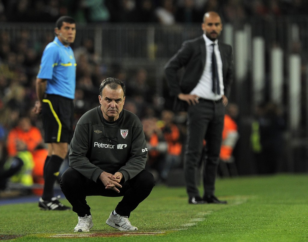 Bielsa has a fan and a follower in Pep Guardiola. (Photo by Lluis Gene/AFP/Getty Images)