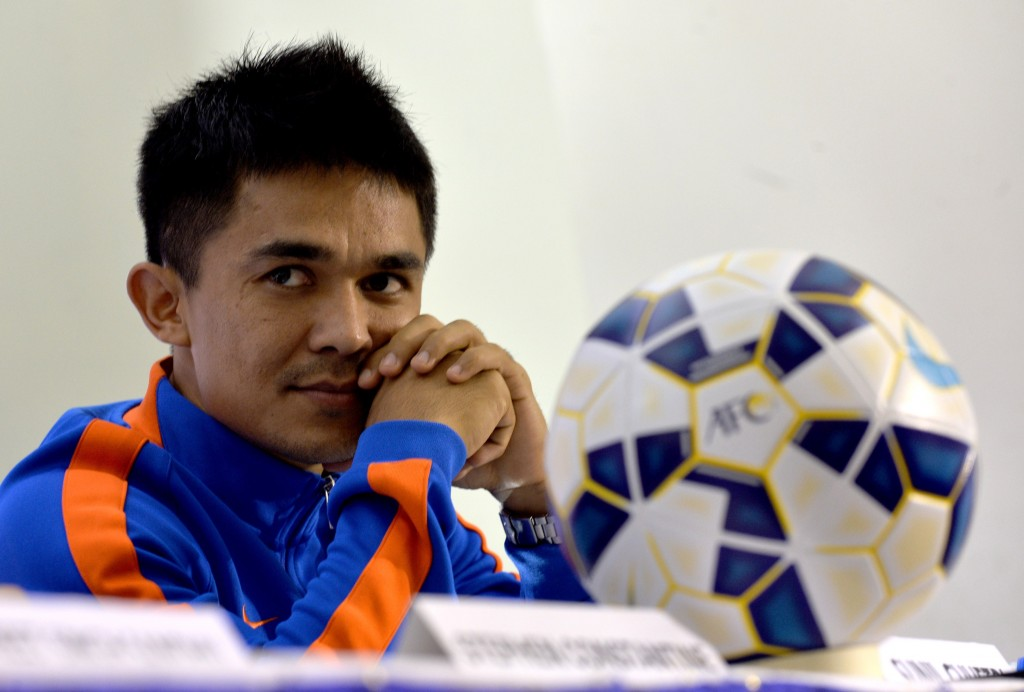 India's fortunes hinge largely on the output of Sunil Chhetri. (Photo by Manjunath Kiran/AFP/Getty Images)