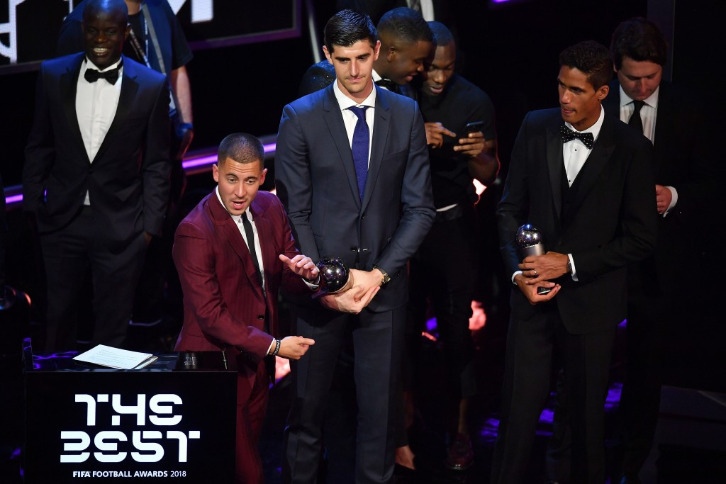 Will Eden Hazard join Thibaut Courtois and Raphael Varane at Real Madrid? (Photo by Ben Stansall/AFP/Getty Images)