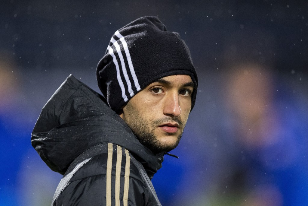 Ajax' Hakim Ziyech looks on prior to the Dutch Eredivisie football match between PEC Zwolle and Ajax Amsterdam in Zwolle, The Netherlands, on December 8, 2018. (Photo by Jasper RUHE / ANP / AFP) / Netherlands OUT (Photo credit should read JASPER RUHE/AFP/Getty Images)
