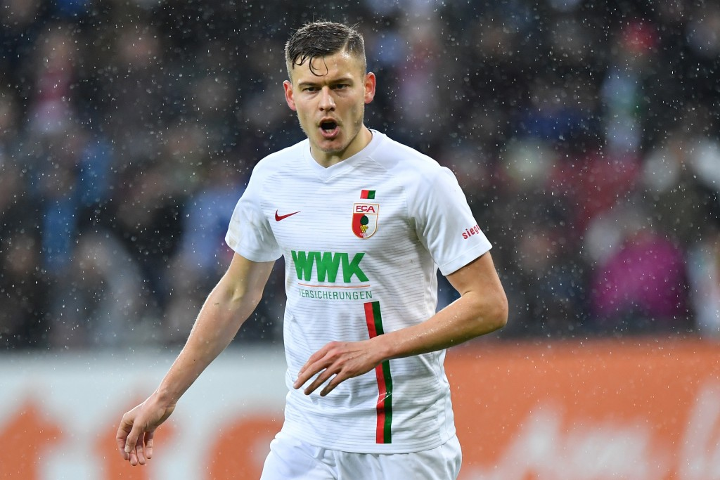 AUGSBURG, GERMANY - DECEMBER 23: Alfred Finnbogason of Augsburg looks on during the Bundesliga match between FC Augsburg and VfL Wolfsburg at WWK-Arena on December 23, 2018 in Augsburg, Germany. (Photo by Sebastian Widmann/Bongarts/Getty Images)