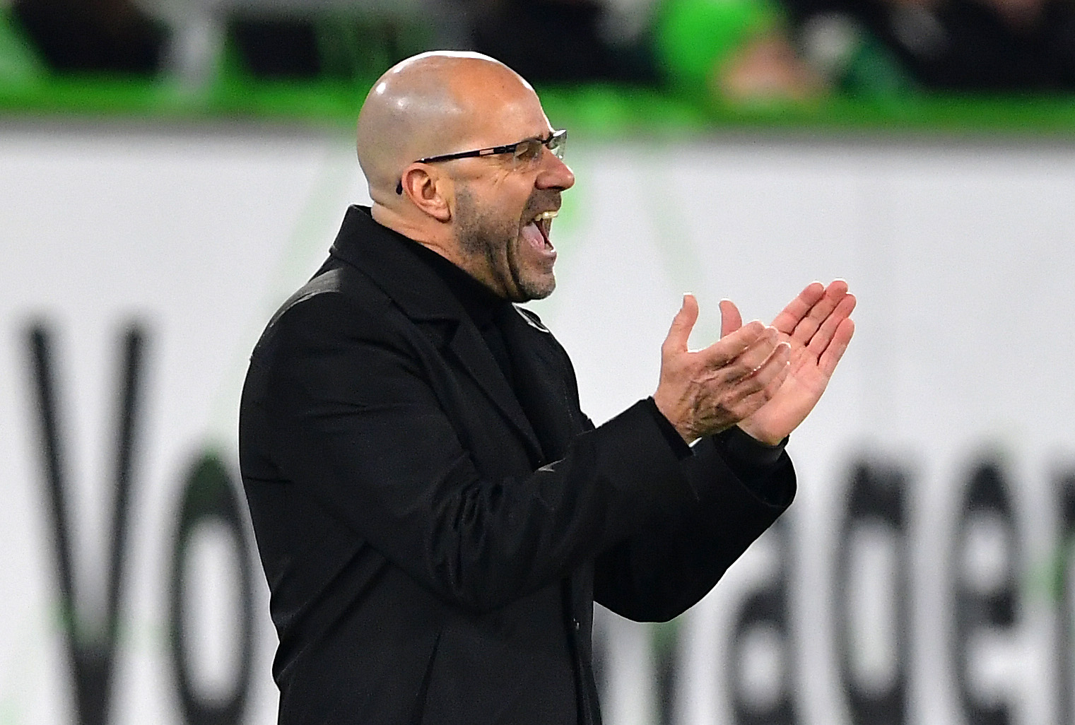 WOLFSBURG, GERMANY - JANUARY 26: Peter Bosz, Manager of Bayer 04 Leverkusen gives his team instructions during the Bundesliga match between VfL Wolfsburg and Bayer 04 Leverkusen at Volkswagen Arena on January 26, 2019 in Wolfsburg, Germany. (Photo by Stuart Franklin/Bongarts/Getty Images)