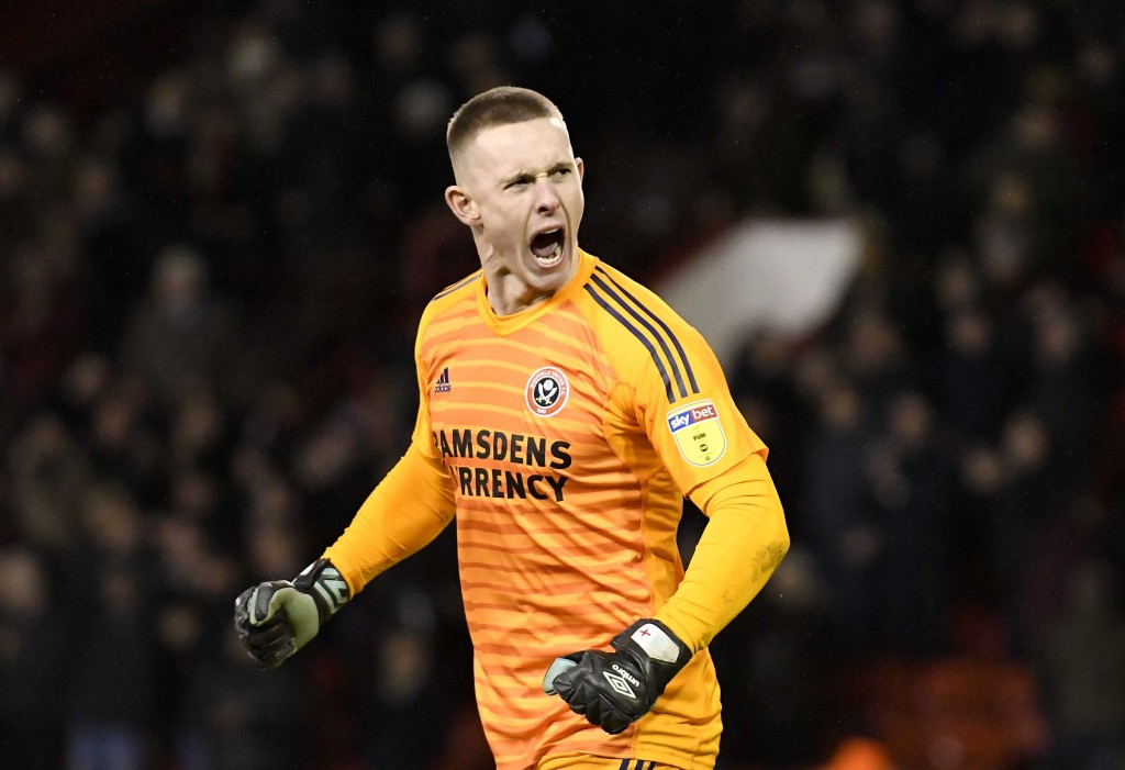 SHEFFIELD, ENGLAND - JANUARY 12: Goalkeeper Dean Henderson celebrates following the Sky Bet Championship match between Sheffield United and Queens Park Rangers at Bramall Lane on January 12, 2019 in Sheffield, England. (Photo by George Wood/Getty Images)