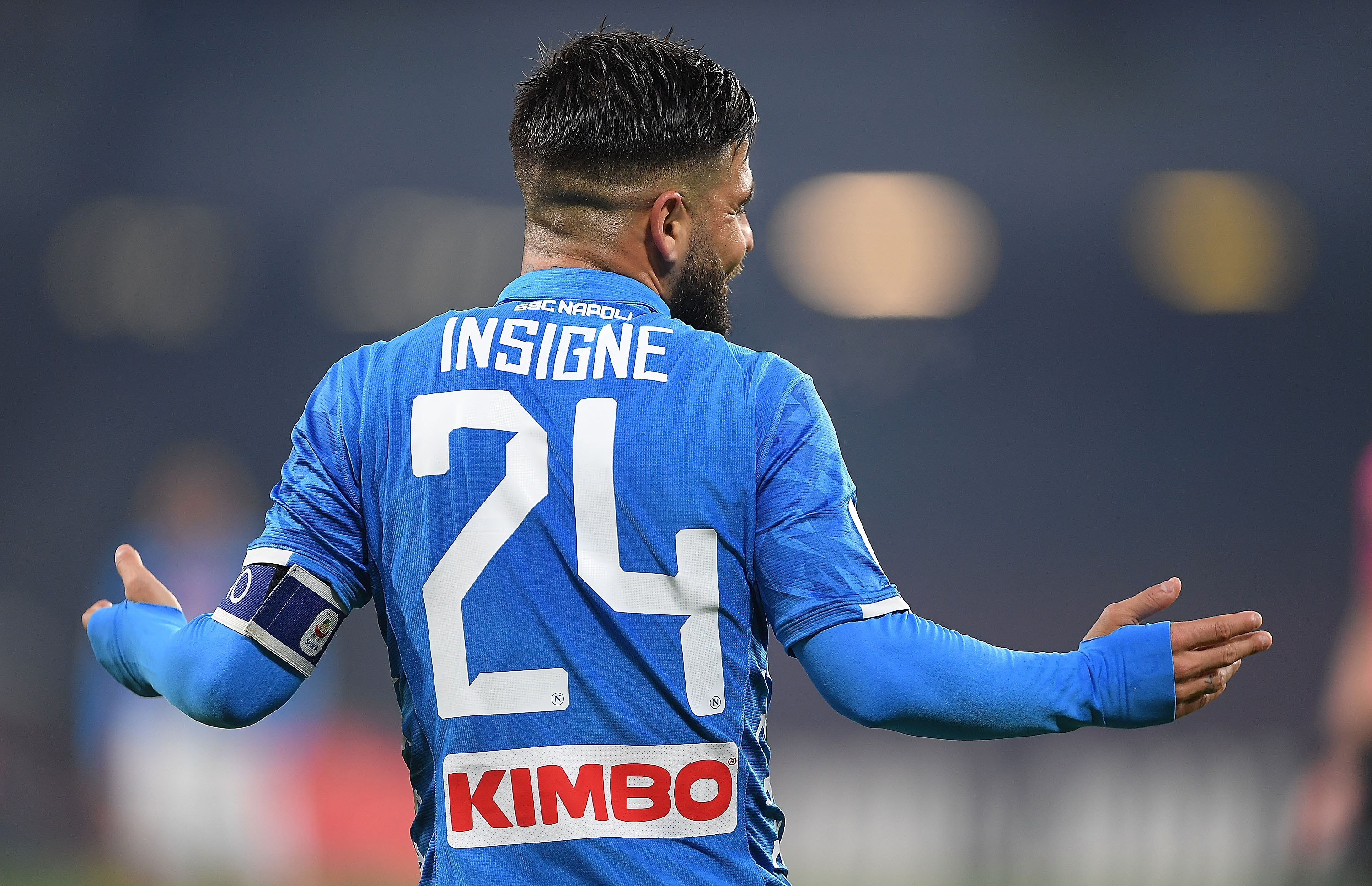NAPLES, ITALY - JANUARY 13: Lorenzo Insigne of SSC Napoli in action during the Coppa Italia match between SSC Napoli and US Sassuolo at Stadio San Paolo on January 13, 2019 in Naples, Italy. (Photo by Francesco Pecoraro/Getty Images)