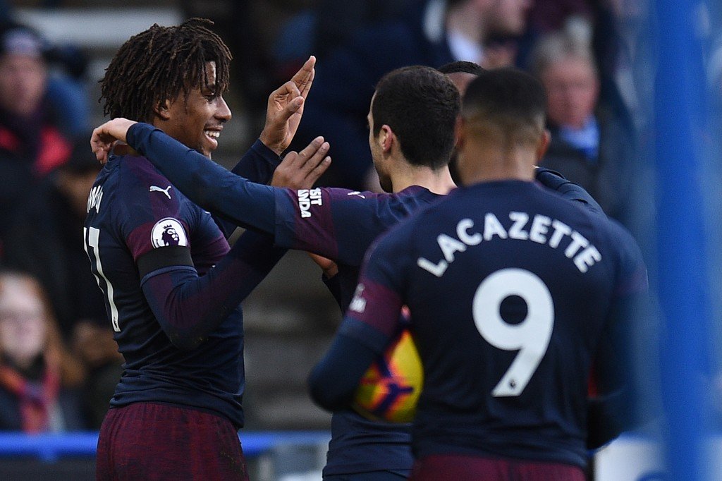 Iwobi and Lacazette on the scoresheet (Photo by OLI SCARFF/AFP/Getty Images)