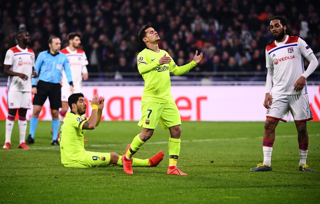 Suarez and Barcelona were in for a frustrating night at Lyon earlier this week. (Photo by Franck Fife/AFP/Getty Images)