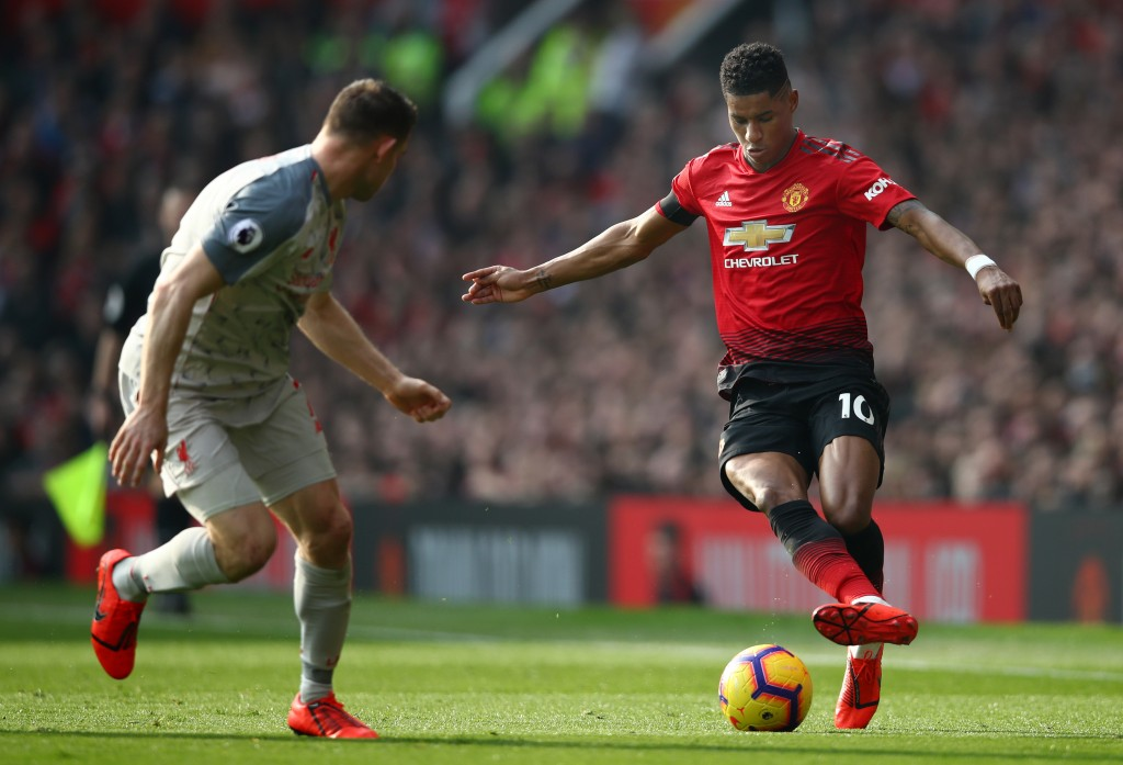 Rashford braved an injury to play the whole game. (Photo by Clive Brunskill/Getty Images)