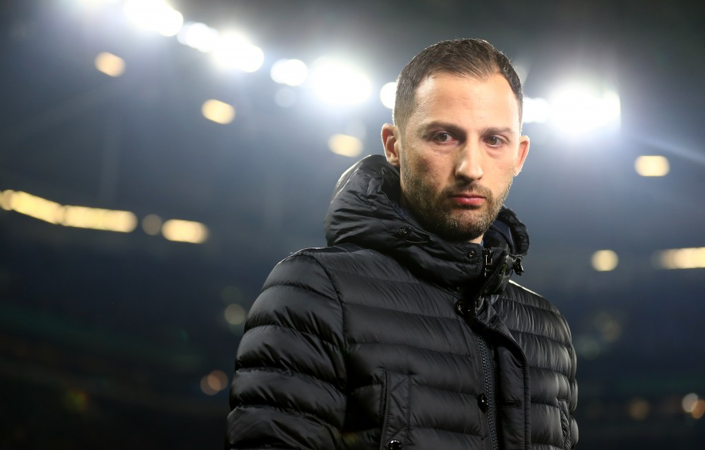 GELSENKIRCHEN, GERMANY - FEBRUARY 06: Head coach Domenico Tedesco of Schalke looks on during the DFB Pokal Cup match between FC Schalke 04 and Fortuna Duesseldorf at Veltins-Arena on February 06, 2019 in Gelsenkirchen, Germany. (Photo by Lars Baron/Bongarts/Getty Images)
