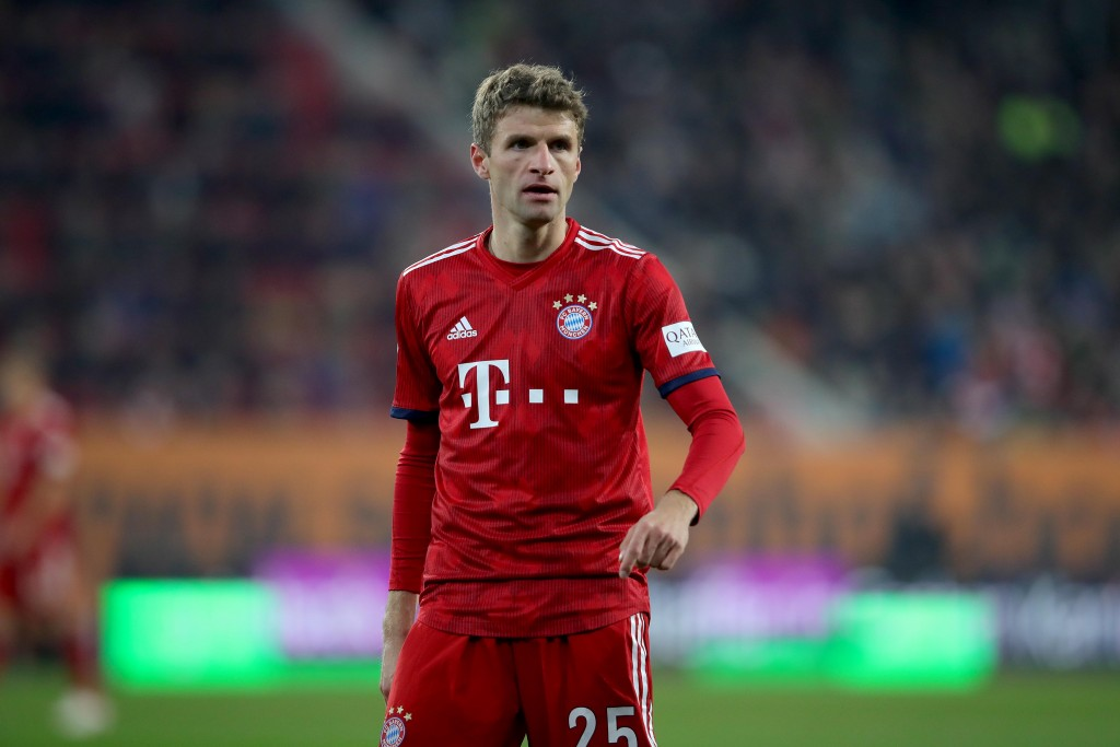 AUGSBURG, GERMANY - FEBRUARY 15: Thomas Mueller of FC Bayern Muenchen looks on during the Bundesliga match between FC Augsburg and FC Bayern Muenchen at WWK-Arena on February 15, 2019 in Augsburg, Germany. (Photo by Alexander Hassenstein/Bongarts/Getty Images)