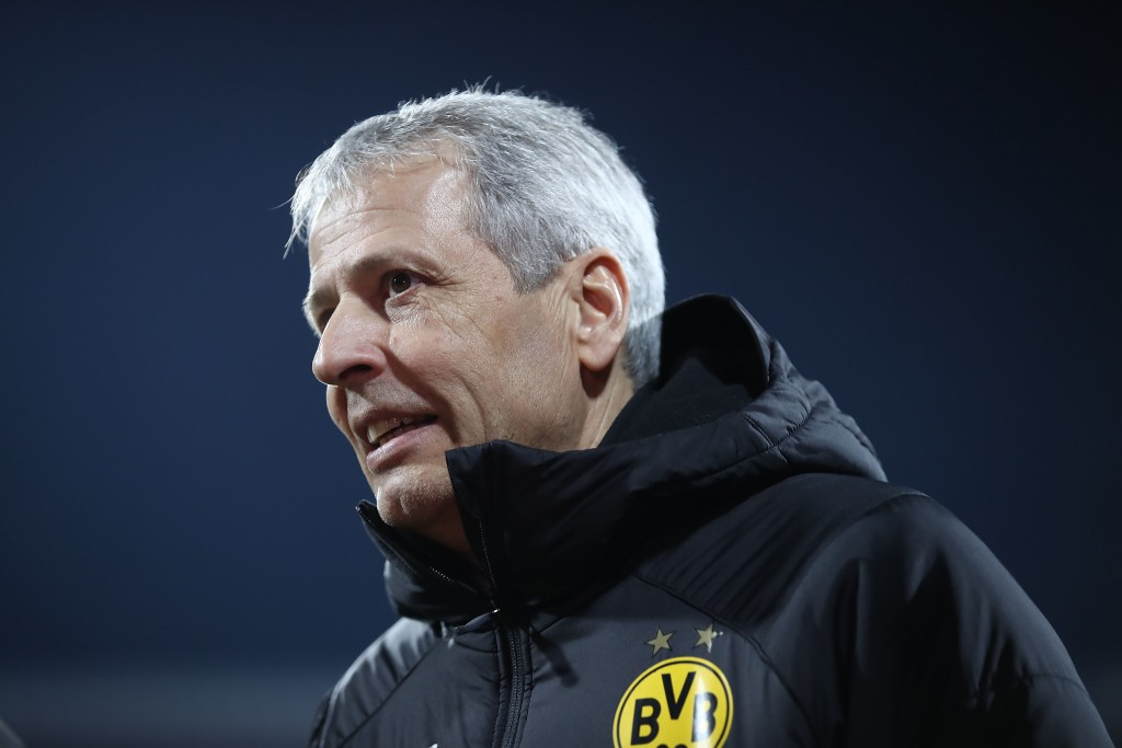NUREMBERG, GERMANY - FEBRUARY 18: Lucien Favre, Manager of Borussia Dortmund looks on ahead of the Bundesliga match between 1. FC Nuernberg and Borussia Dortmund at Max-Morlock-Stadion on February 18, 2019 in Nuremberg, Germany. (Photo by Alex Grimm/Bongarts/Getty Images)