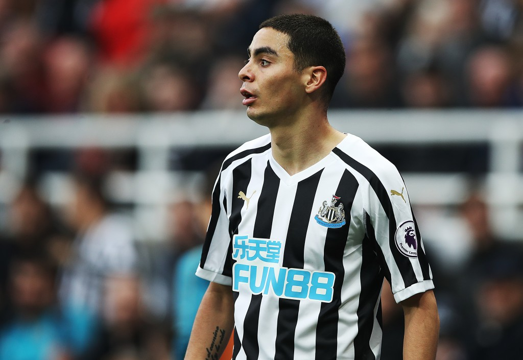NEWCASTLE UPON TYNE, ENGLAND - FEBRUARY 23: Miguel Almiron of Newcastle United looks on during the Premier League match between Newcastle United and Huddersfield Town at St. James Park on February 23, 2019 in Newcastle upon Tyne, United Kingdom. (Photo by Ian MacNicol/Getty Images)