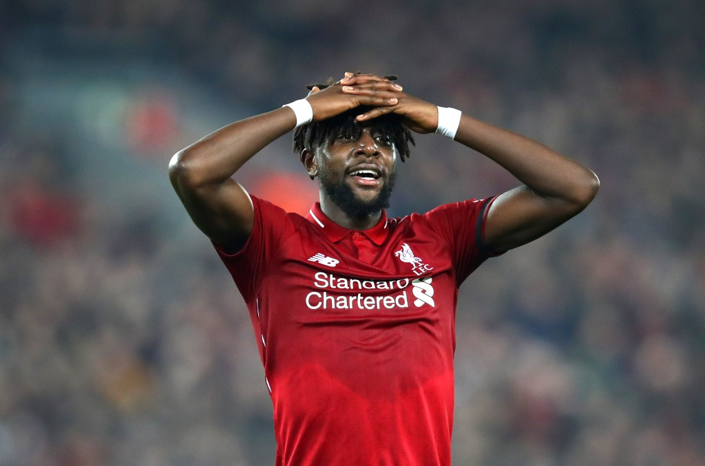 LIVERPOOL, ENGLAND - FEBRUARY 27: Divock Origi of Liverpool reacts during the Premier League match between Liverpool FC and Watford FC at Anfield on February 27, 2019 in Liverpool, United Kingdom. (Photo by Clive Brunskill/Getty Images)