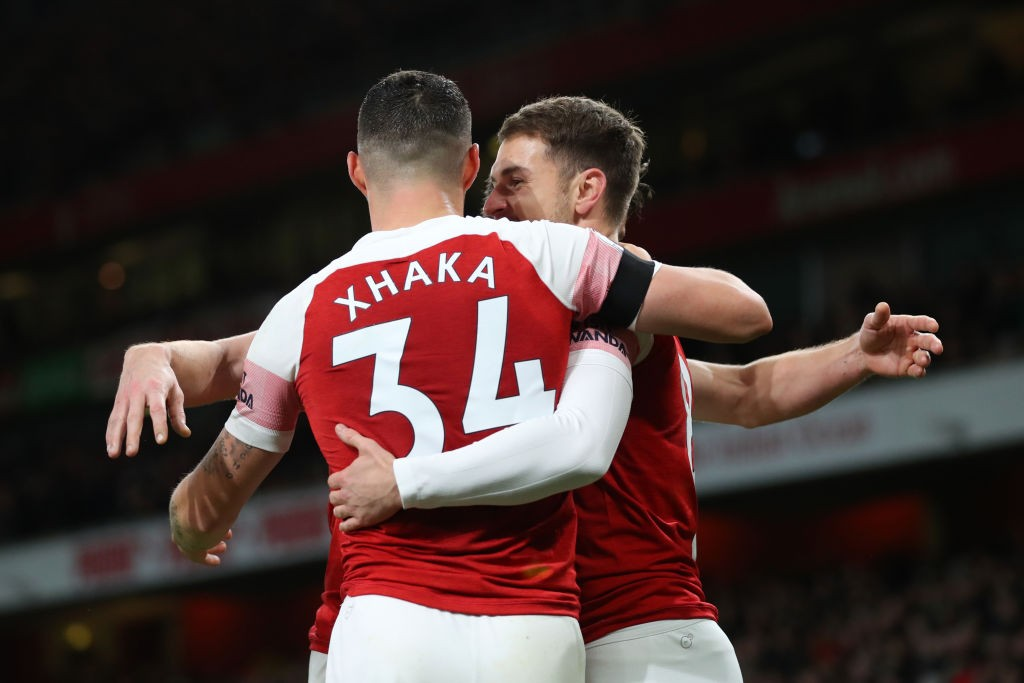 Granit Xhaka and Aaron Ramsey dominated proceedings in midfield as Arsenal outclassed Man Utd. (Photo courtesy: AFP/Getty)