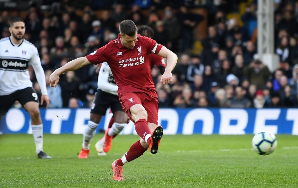 Milner scores the decisive penalty against Fulham late on in the game. (Photo courtesy: AFP/Getty)