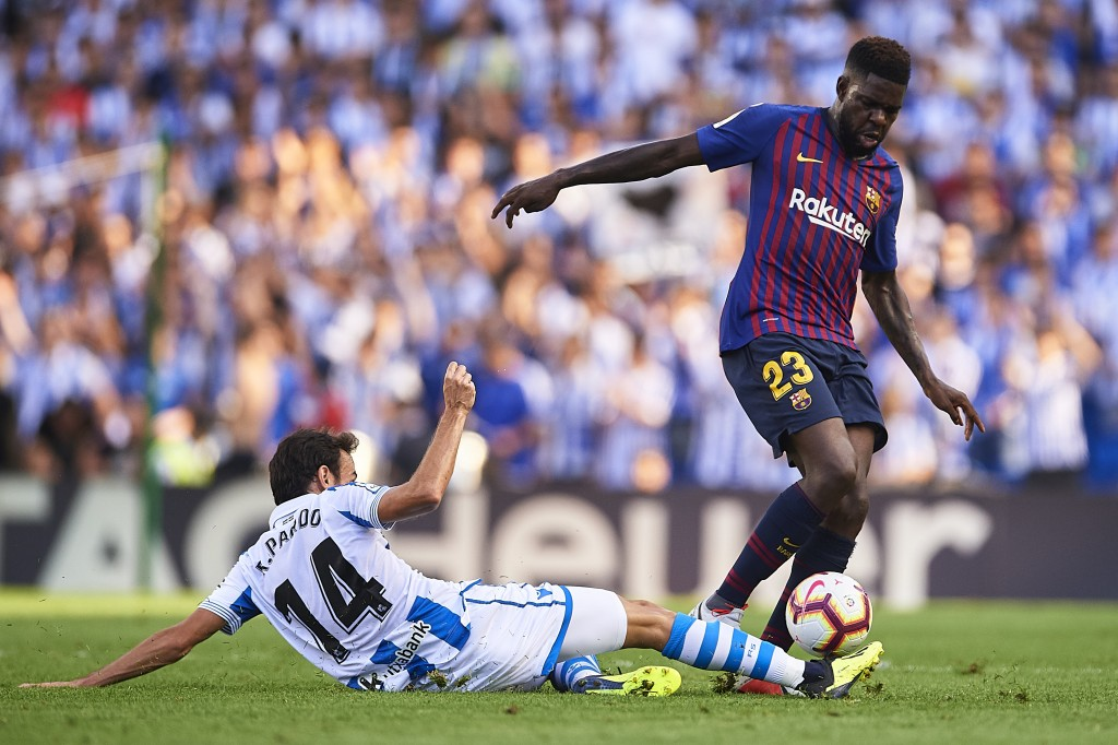 Could Umtiti be on his way to England in the summer? (Photo by Aitor Alcalde/Getty Images)