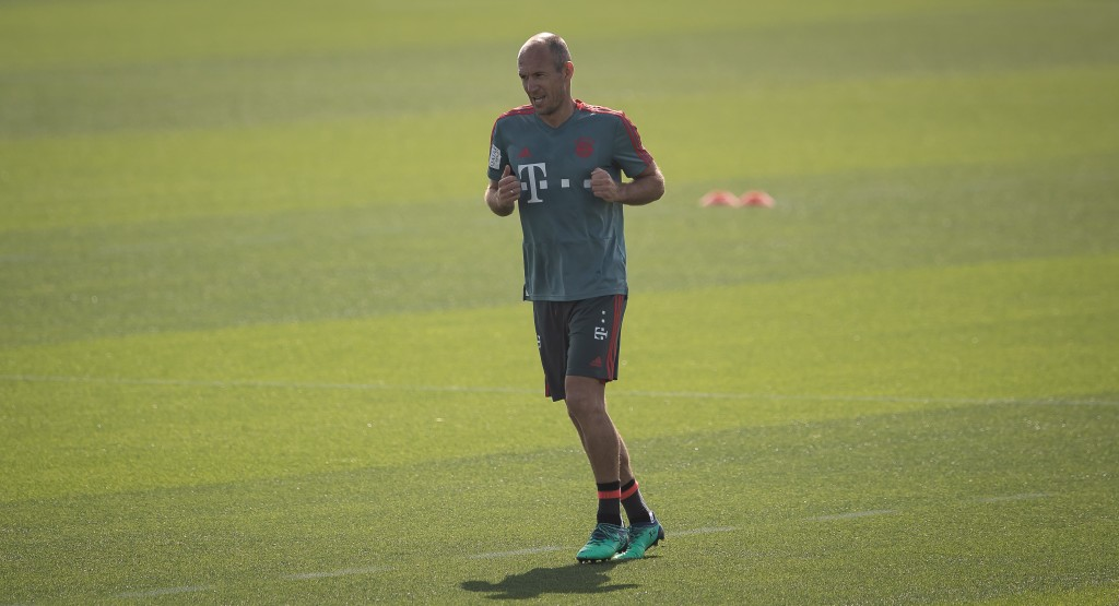 DOHA, QATAR - JANUARY 09: Arjen Robben is seen during a training session at day six of the Bayern Muenchen training camp at Aspire Academy on January 07, 2019 in Doha, Qatar. (Photo by Lars Baron/Bongarts/Getty Images)
