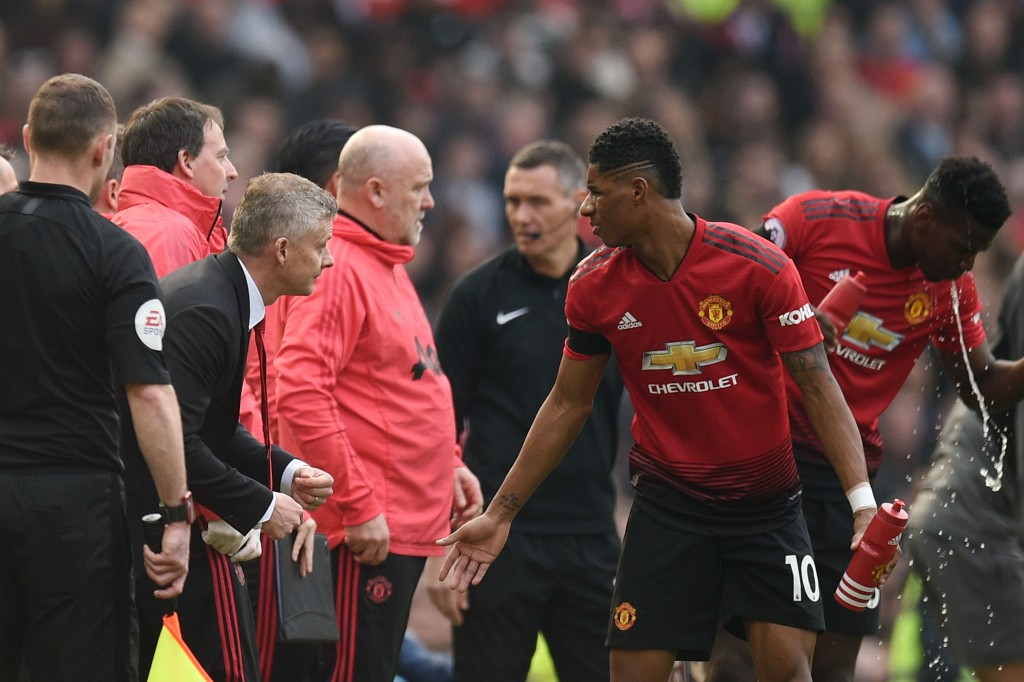 Marcus Rashford is fit and available after struggling with an ankle complaint over the past week. (Photo by Oli Scarff/AFP/Getty Images)