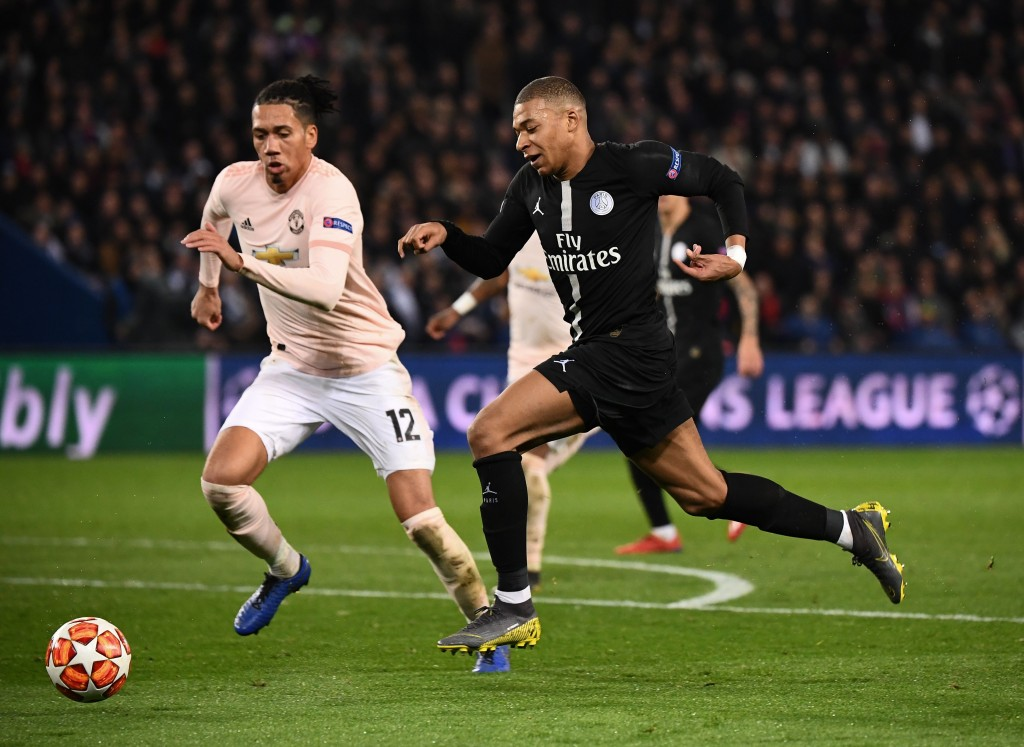 Smalling was brave against the threat of Kylian Mbappe. (Photo by Franck Fife/AFP/Getty Images)