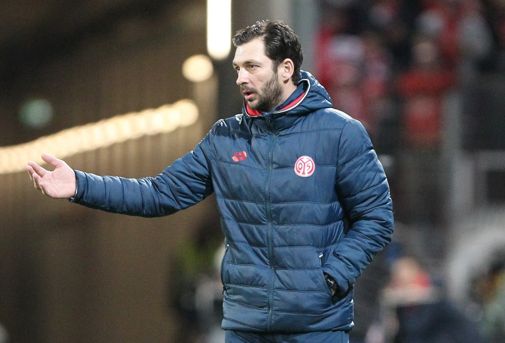 Mainz' headcoach Sandro Schwarz reacts during the German first division Bundesliga football match Mainz 05 vs Borussia Moenchengladbach on March 9, 2019 in Mainz. (Photo by Daniel ROLAND / AFP) / DFL REGULATIONS PROHIBIT ANY USE OF PHOTOGRAPHS AS IMAGE SEQUENCES AND/OR QUASI-VIDEO (Photo credit should read DANIEL ROLAND/AFP/Getty Images)