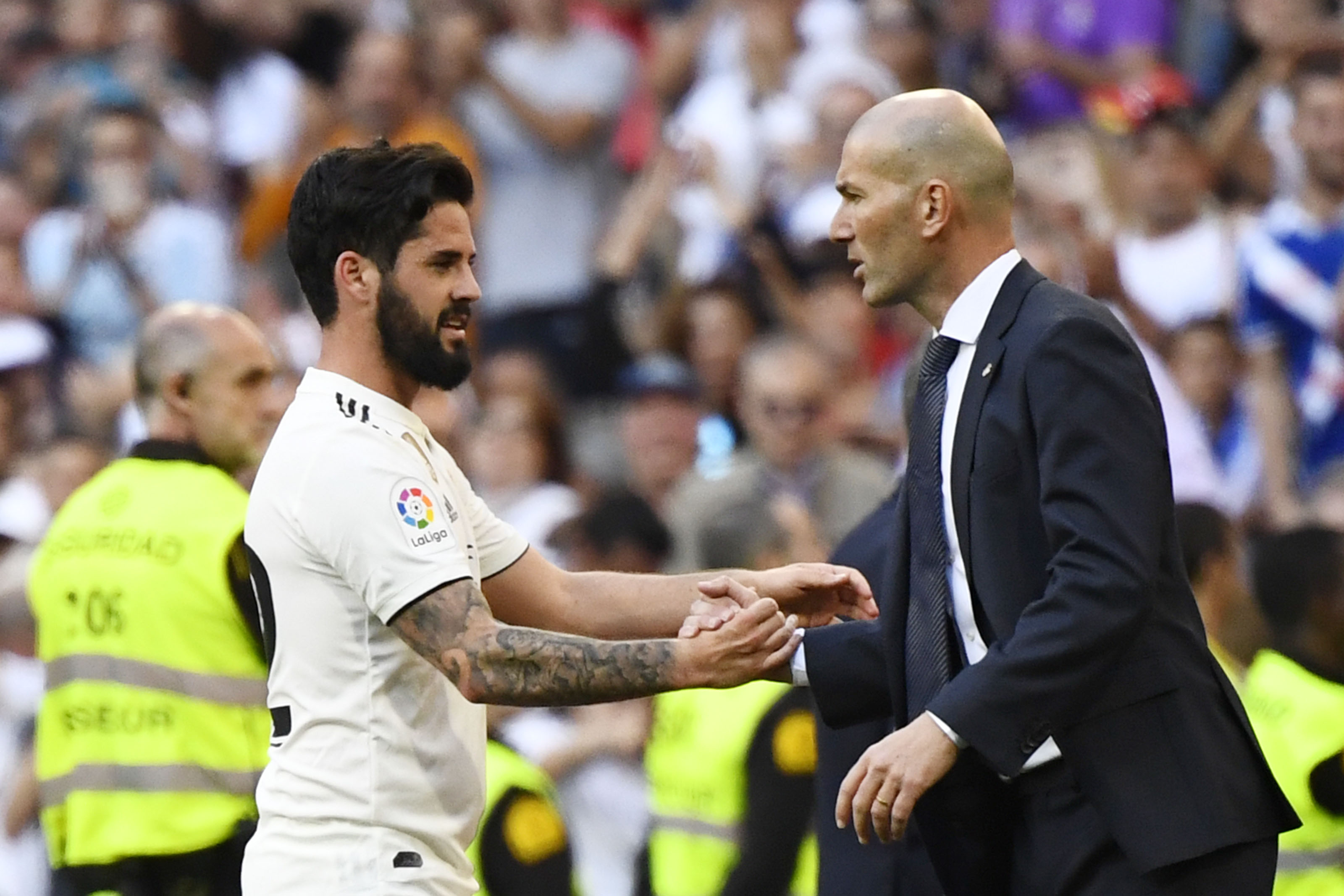 Isco under Zidane helped Real Madrid win three consecutive Champions League crowns. (Photo by GABRIEL BOUYS/AFP/Getty Images)