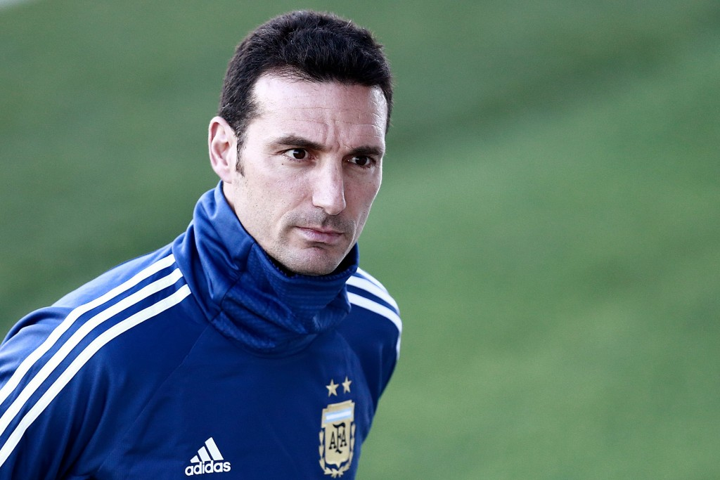 Argentina's coach Lionel Scaloni attends a training session at Real Madrid's training facilities of Valdebebas in Madrid on March 20, 2019, ahead of an international friendly football match between Argentina and Venezuela in preparation for the Copa America to be held in Brazil in June and July 2019. (Photo by BENJAMIN CREMEL / AFP) (Photo credit should read BENJAMIN CREMEL/AFP/Getty Images)