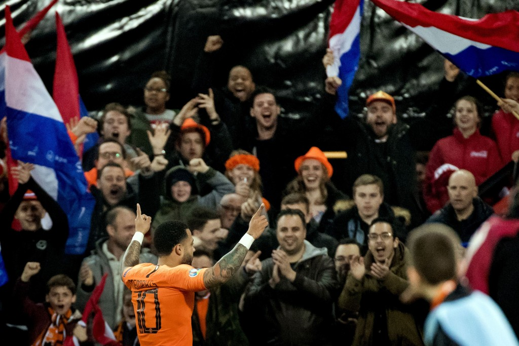 Memphis Depay inspired Netherlands to a 4-0 win over Belarus on Thursday. (Photo by Koen van Weel/AFP/Getty Images)