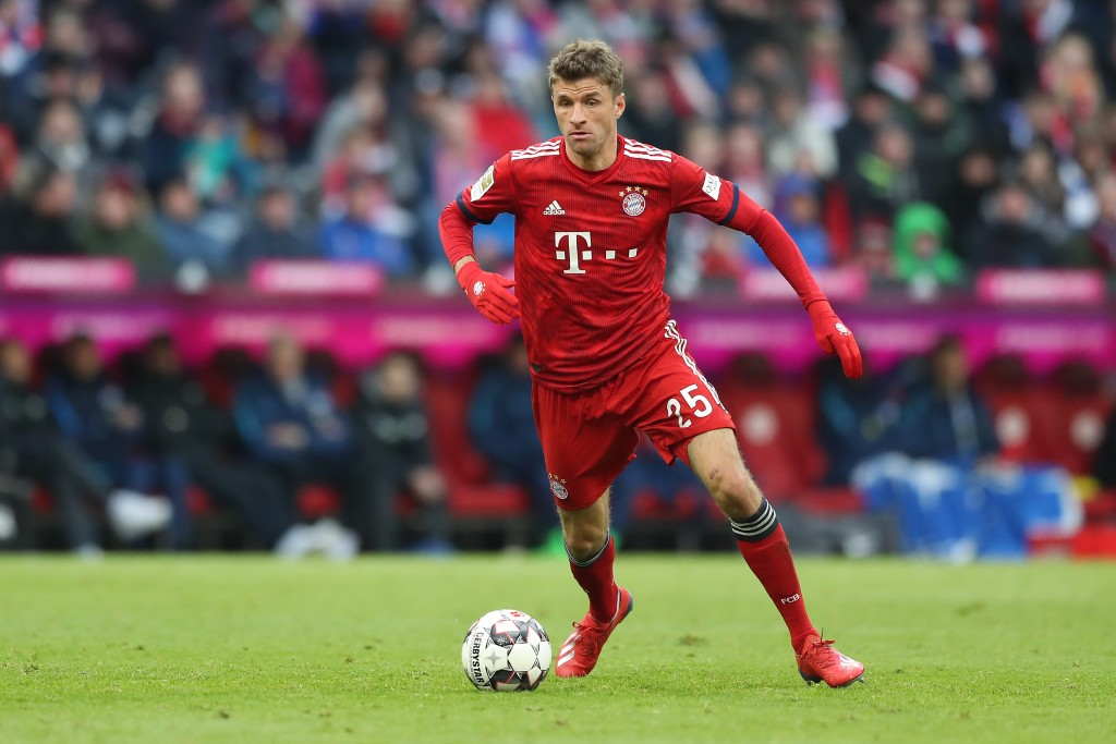 MUNICH, GERMANY - FEBRUARY 23: Thomas Mueller of FC Bayern Muenchen in action during the Bundesliga match between FC Bayern Muenchen and Hertha BSC at Allianz Arena on February 23, 2019 in Munich, Germany. (Photo by Christian Kaspar-Bartke/Bongarts/Getty Images)