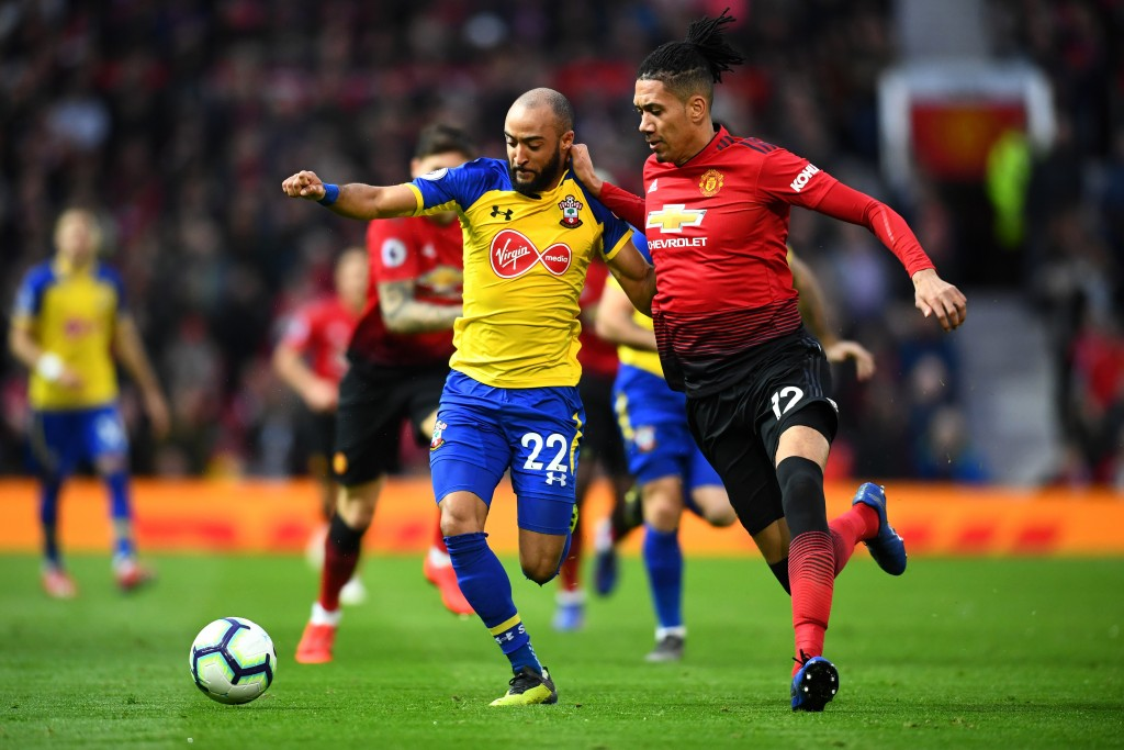 Smalling had his hands full with Nathan Redmond. (Photo by Clive Mason/Getty Images)