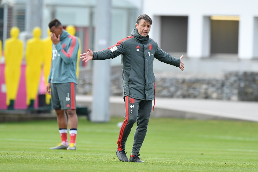 MUNICH, GERMANY - MARCH 26: Head coach Niko Kovac of Bayern Munich gestures during a training session at Saebener Strasse training ground on March 26, 2019 in Munich, Germany. (Photo by Sebastian Widmann/Bongarts/Getty Images)