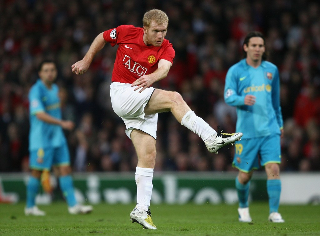 A Paul Scholes special eliminated Barcelona from the 2007-08 semifinals (Photo by Clive Brunskill/Getty Images)