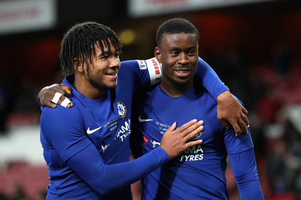 LONDON, ENGLAND - APRIL 30: Reece James and Marc Guehi of Chelsea celebrates after winning the FA Youth Cup Final after the FA Youth Cup Final, second leg match between Arsenal and Chelsea at Emirates Stadium on April 30, 2018 in London, England. (Photo by Linnea Rheborg/Getty Images)